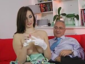 Young stockings brunette and old man