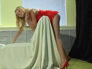 Hot chick Marina strips out of red dress