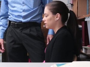 Teen Thief Bobbi Dylan Takes Guard Cock In Office
