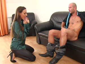 Brunette bitch in leather pants and satin shirt