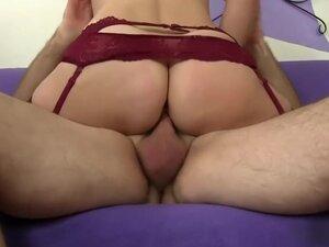 Short haired brunette wife in lingerie fucks a big