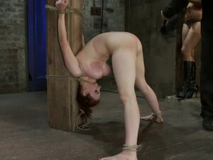Big titted 19yr old is bound strappado to a beam &