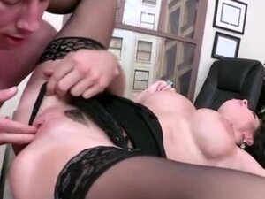 Busty assistant gets it on the desk