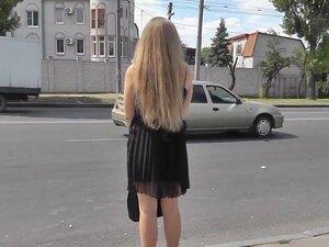 Hot upskirt with a slender blonde