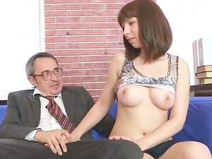 Old teacher doing redhead student during lesson