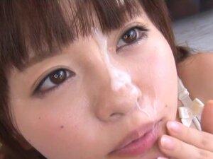Amazing Asian teen Mei in foursome bukkake, Mei is
