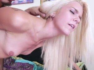 Tiny blonde babe Halle Von takes stepbros cock