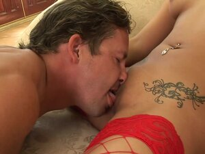 Gianna in her red fencenet stockings getting