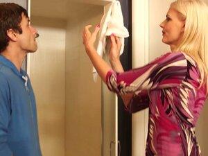 Horny blonde mom Darryl Hanah blows cock of her