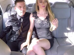 On their date in the back of their limo a guy