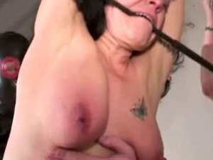 Mature with saggy tits tortured by perverse couple