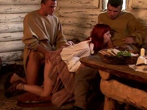 Hardcore MMF Threesome as a Redhead Gets Double