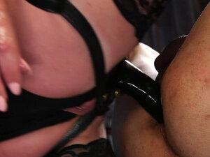 Mistress in stockings anal fucks dude