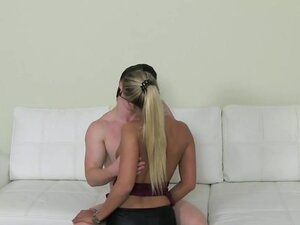 Pale dude fucks tanned female agent on casting