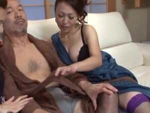 Hot mature Japanese model in nasty group action,
